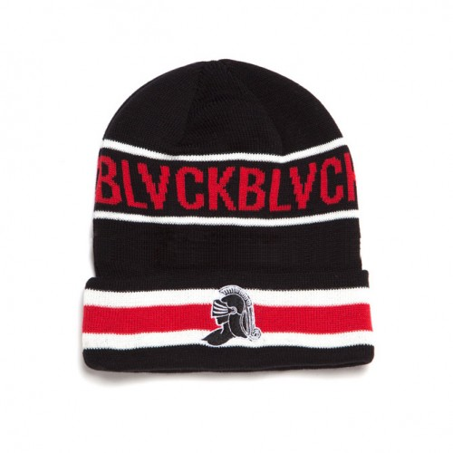 [BLACK SCALE] BLACK KNIGHT BEANIE (BLACK/RED)