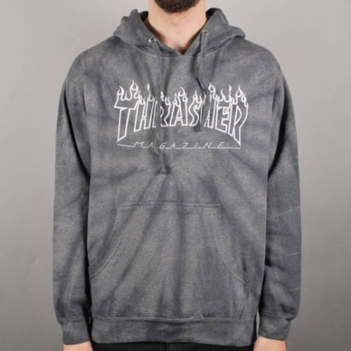 [THRASHER] Silver Flame Pullover Hooded Sweatshirt (GREY)