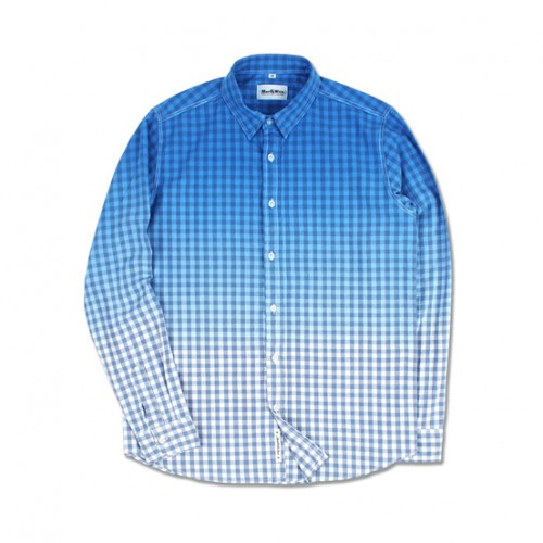 [MARCH WITH] GRADATION GINGHAM SHIRTS (BLUE)