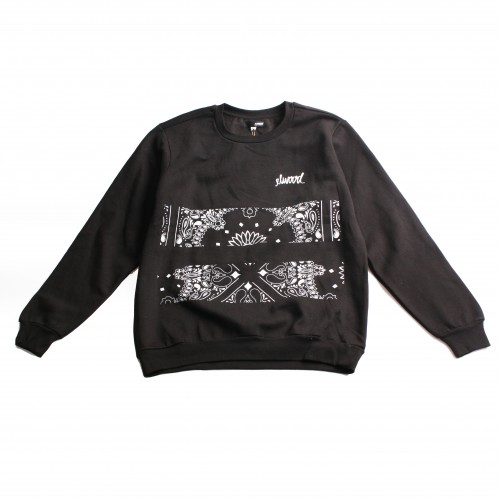 [ELWOOD] THE BANDANA BARS CREWNECK SWEATSHIRT (BLACK)