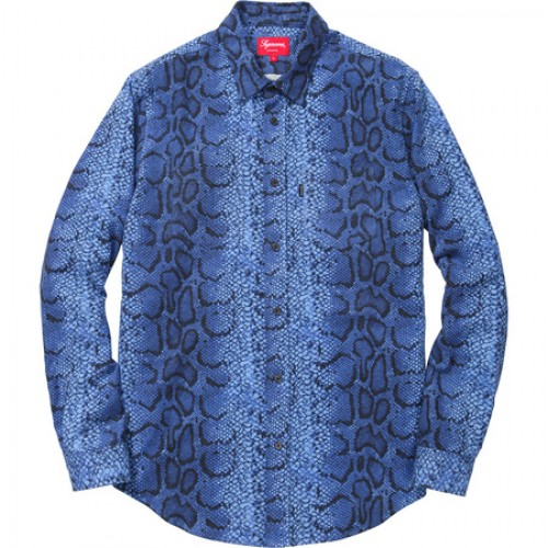 [SUPREME] SNAKE FLANNEL SHIRT (NAVY)