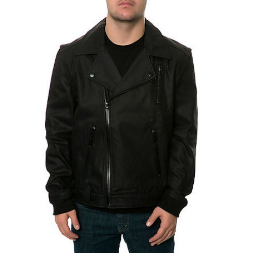 [AURA GOLD] THE BULL DENIM BIKER JACKET IN BLACK