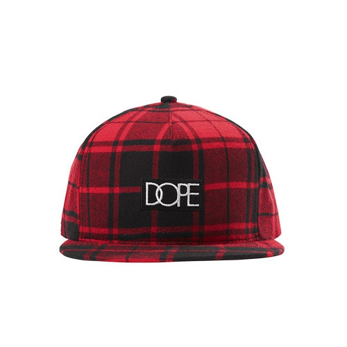 [DOPE] PLAID BOX LOGO SNAPBACK (RED)