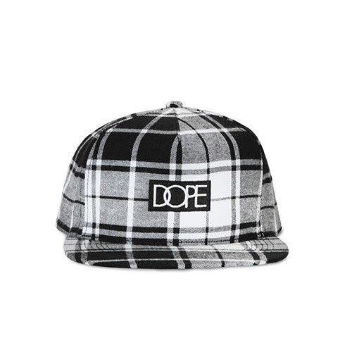 [DOPE] PLAID BOX LOGO SNAPBACK (BLACK)