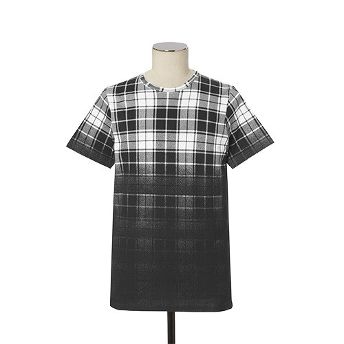 [DOPE] GRADIENT PLAID TEE (BLACK/WHITE)