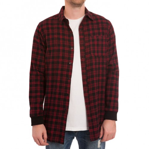 [ELWOOD] LONG SIDE ZIP FLANNEL SHIRT RED/BLACK