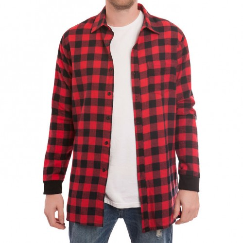 [ELWOOD] EXTRA LONG SIDE ZIP FLANNEL SHIRT RED/BLACK