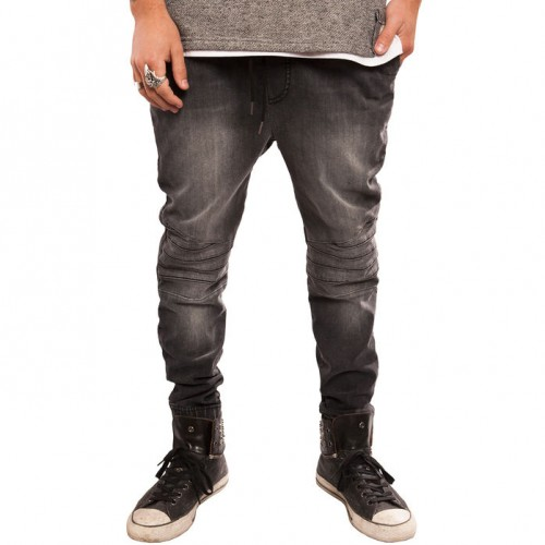 [ELWOOD] THE STRETCH MOTO DENIM JOGGER PANTS IN CHARCOAL
