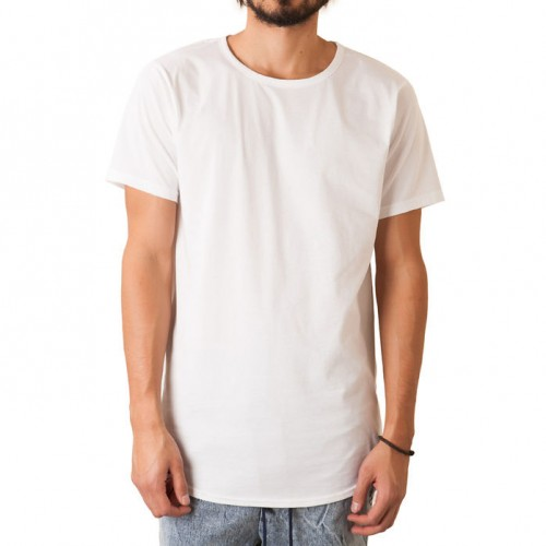 [ELWOOD] THE CURVED HEM TALL TEE IN WHITE