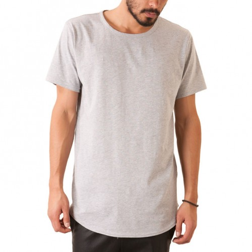 [ELWOOD] THE CURVED HEM TAIL TEE IN HEATHER GREY