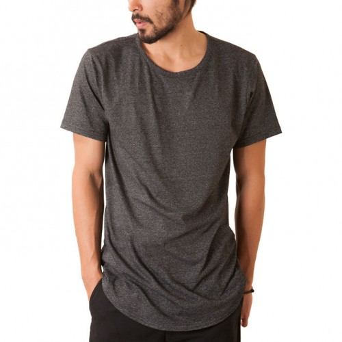 [ELWOOD] THE CURVED HEM TAIL TEE IN CHARCOAL