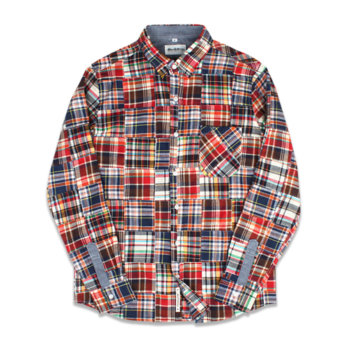 [MARCH WITH] CRAZY PATCHWORK SHIRTS RED&NAVY