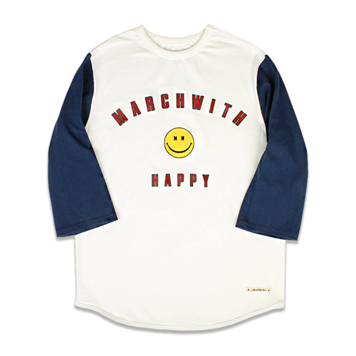 [MARCH WITH] VINTAGE BASEBALL TEE OFF WHITE&NAVY