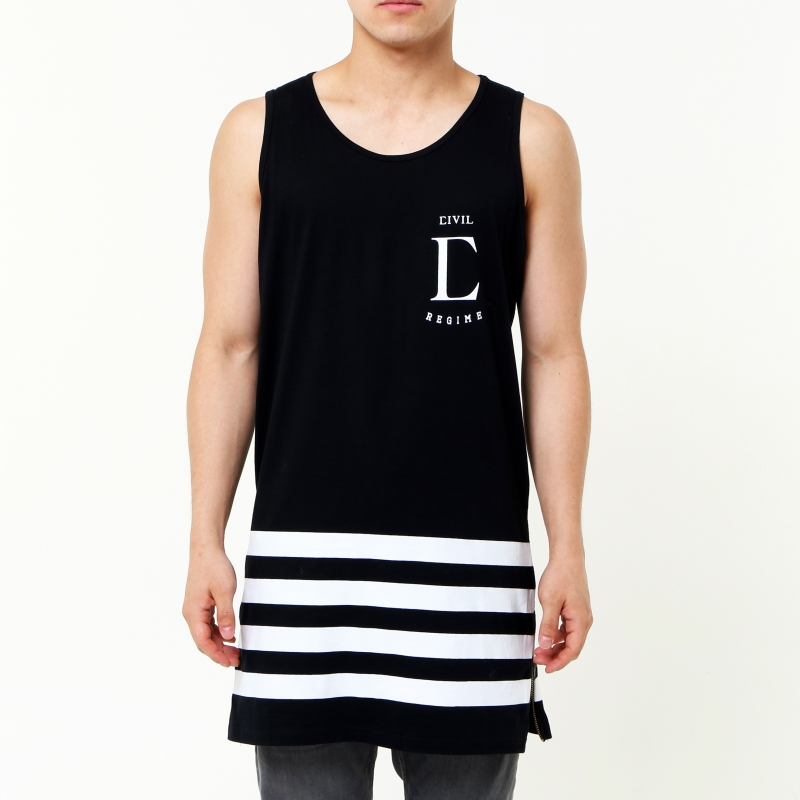 [$ SHOP SALE] [CIVIL] LEAGUE SIDE ZIP LONG TANK (Black)