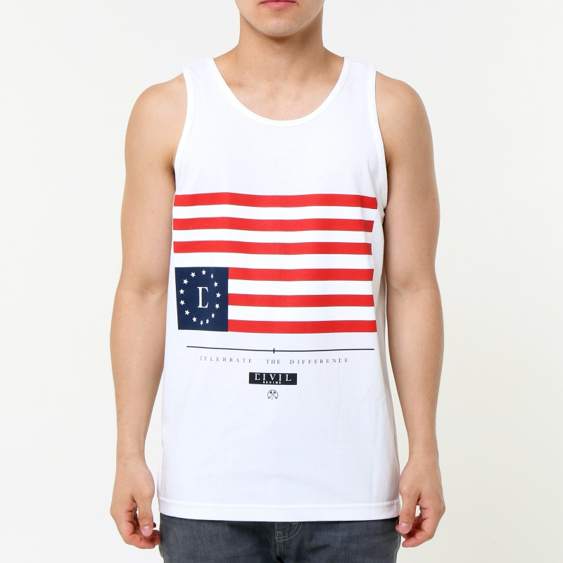 [$ SHOP SALE] [CIVIL] HOME TEAM REBEL FLAG TANK (White)