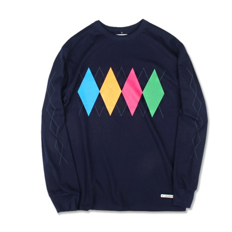 [MARCH WITH] ARGYLE L/S TEE (NAVY)
