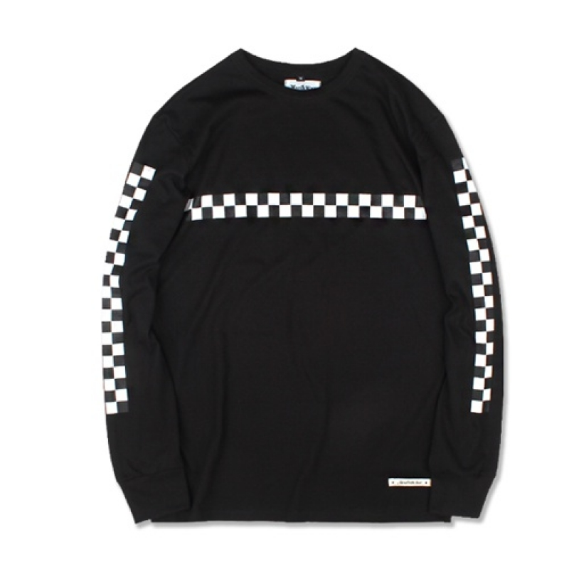 [MARCH WITH] CHECKERBOARD L/S TEE (BLACK)