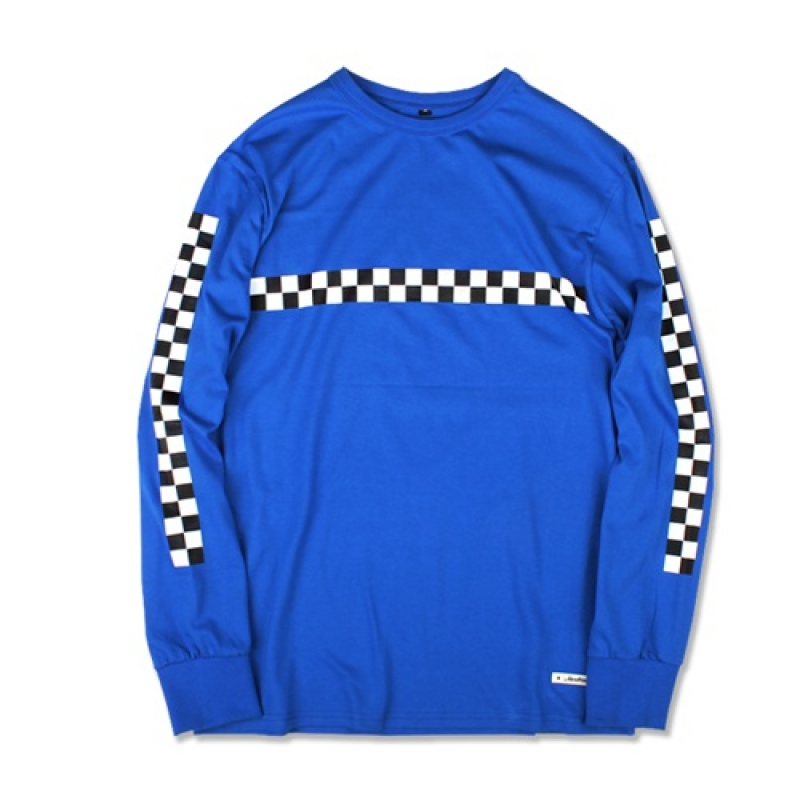 [MARCH WITH] CHECKERBOARD L/S TEE (BLUE)