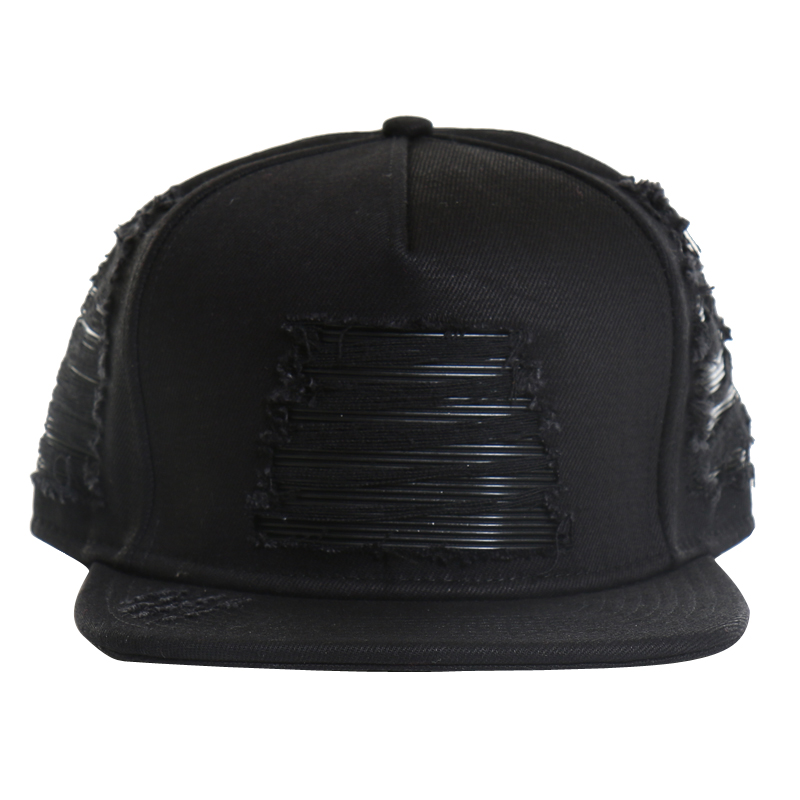 [CIVIL] BLACK DENIM LEATHER BIKER STRAPBACK