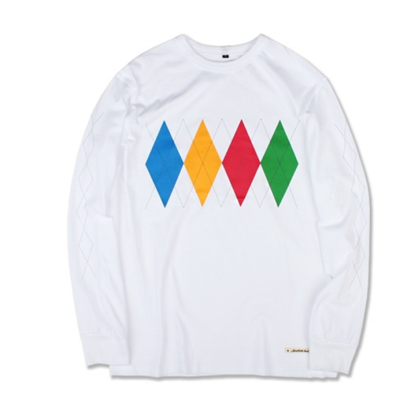 [MARCH WITH] ARGYLE L/S TEE (WHITE)