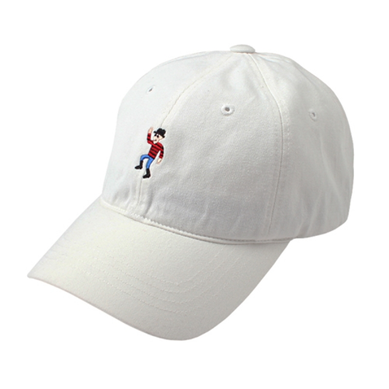 [MARCH WITH] DANCING MAN 6P CURVED BALL CAP OFF WHITE