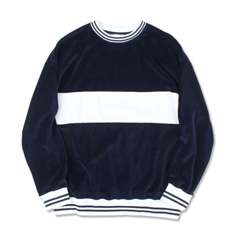 [MARCH WITH] VELOUR STRIPED RIB SWEATSHIRT NAVY