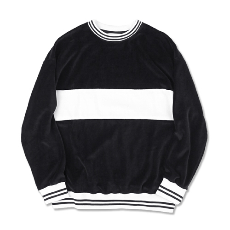 [MARCH WITH] VELOUR STRIPED RIB SWEATSHIRT BLACK