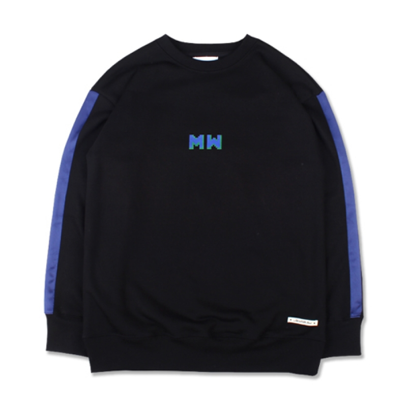 [MARCH WITH] TAPED SLEEVE SWEATSHIRT BLACK