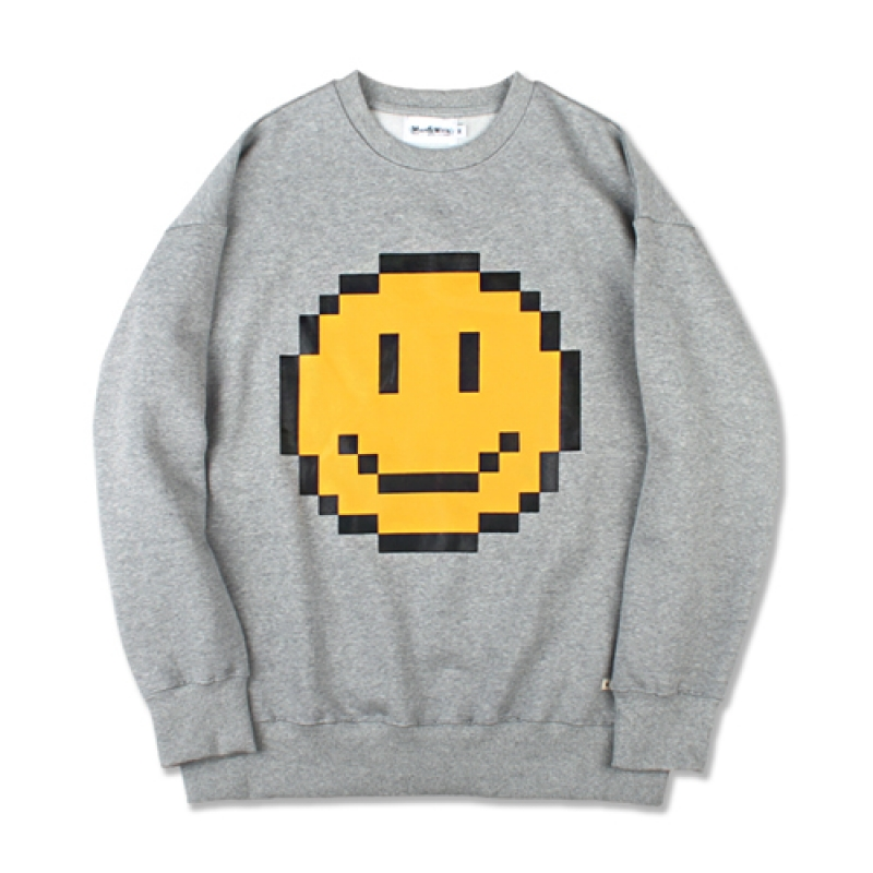 [MARCH WITH] PIXEL SMILE SWEATSHIRT GRAY