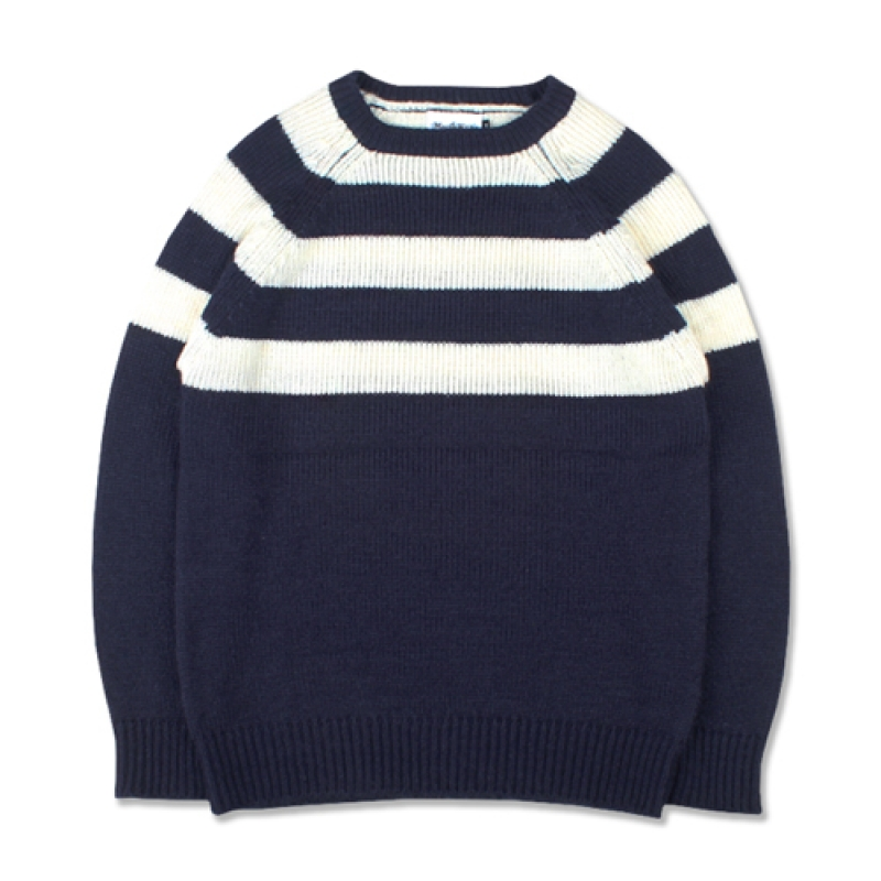 [MARCH WITH] HALF STRIPE KNIT NAVY