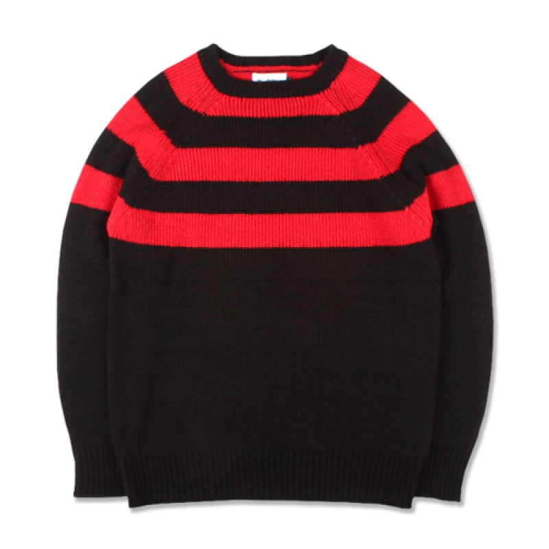 [MARCH WITH] HALF STRIPE KNIT BLACK