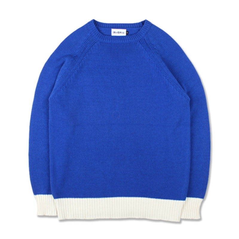 [MARCH WITH] COLOR BLOCK KNIT BLUE