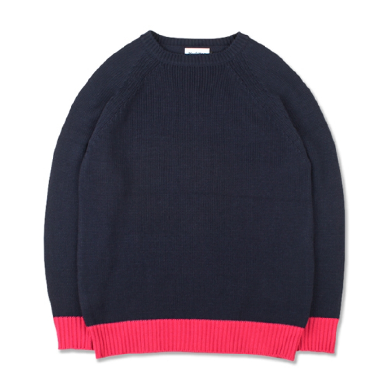 [MARCH WITH] COLOR BLOCK KNIT NAVY