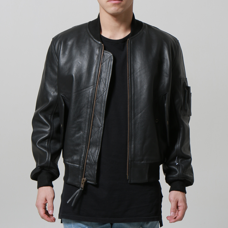[마지막수량] [ALPHA INDUSTRIES] MA-1 LEATHER (BLACK)