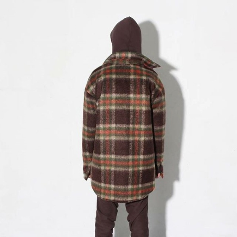 [BURJ SURTR] THICK FLANNEL SHIRTS BROWN