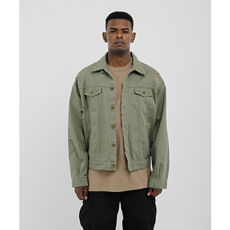 [OBH] DESTROYED DENIM JACKET KHAKI