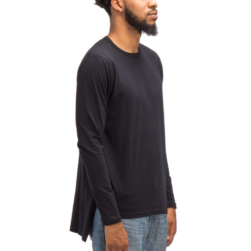 [COUP DE MAIN] ELONGATED HIGH LOW TEE LONG SLEEVES (BLACK)