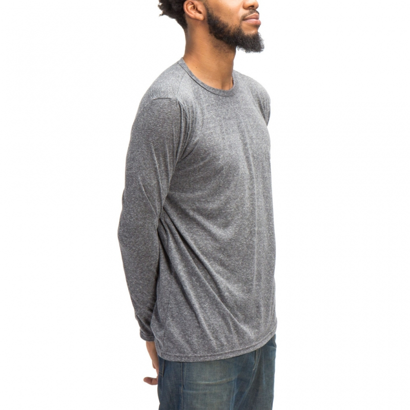 [1+1 EVENT] [$ SHOP SALE] [COUP DE MAIN] ELONGATED ASYMMETRICAL TEE LONG SLEEVES (GREY TRIBLEND)