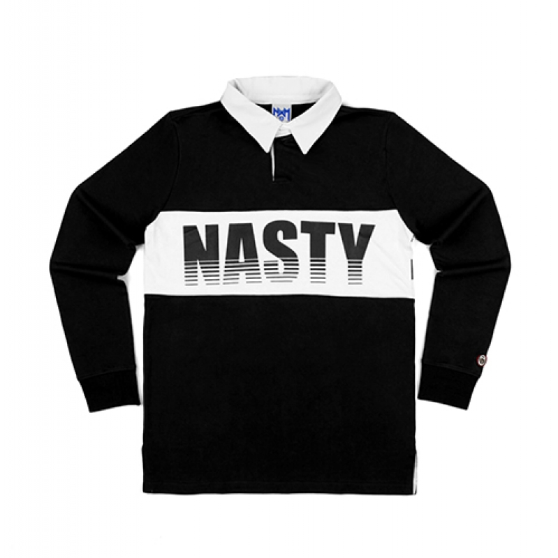[NASTY PALM] NASTY GRID RUGBY TEE (BLK)