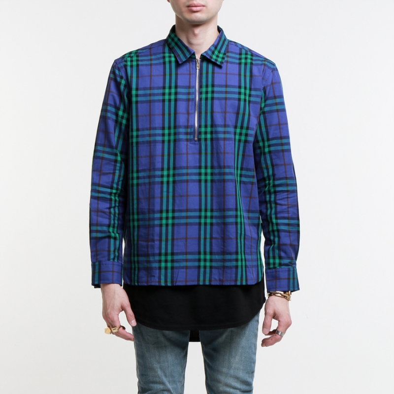 [EPTM] PURPLE FRONT HALF ZIP WOVEN SHIRT
