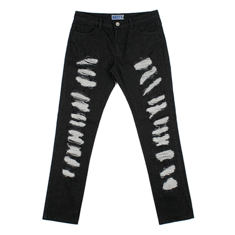 [NASTY PALM] NXM DAMAGED DENIMPANTS (BLK)