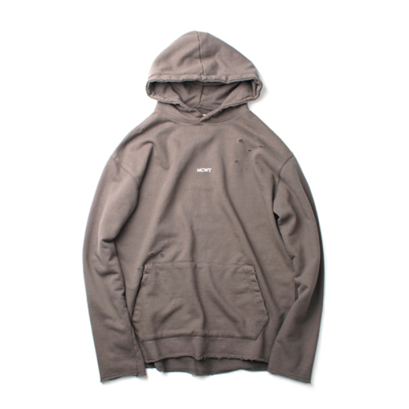 [MARCH WITH] NO WAVE DISTRESSED HOODIE TAUPE GRAY