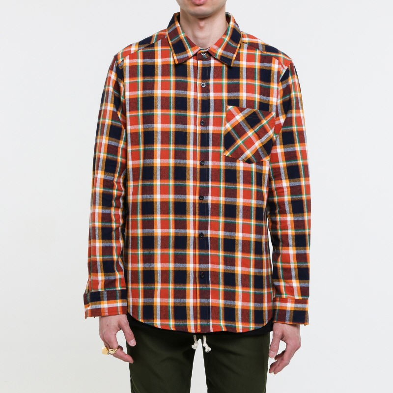 [EPTM] PUMPKIN SIDE ZIP FLANNEL SHIRT