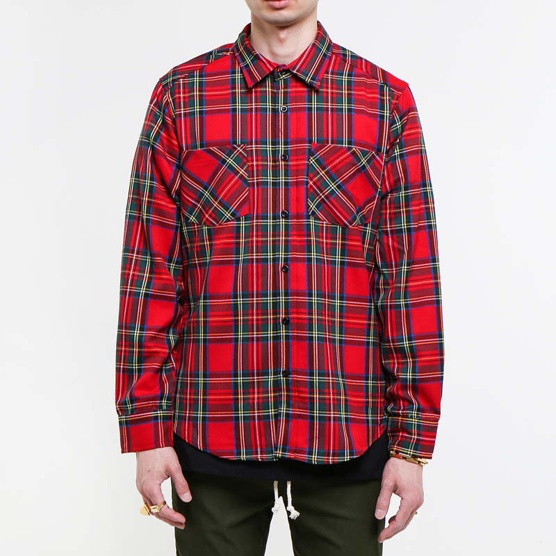 [EPTM] RED/BLACK SIDE ZIP FLANNEL SHIRT