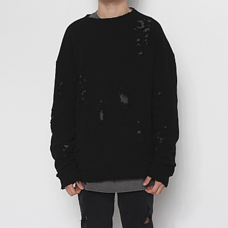 [FADE6] DAMAGED KNIT BLACK