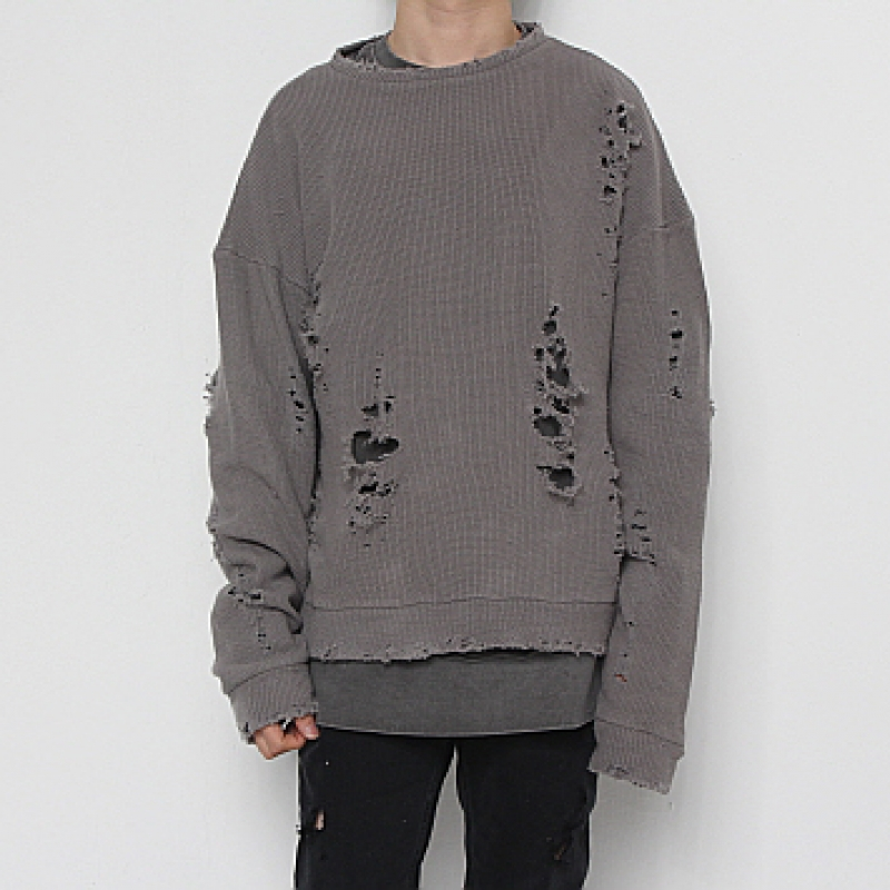 [FADE6] DAMAGED KNIT GREY