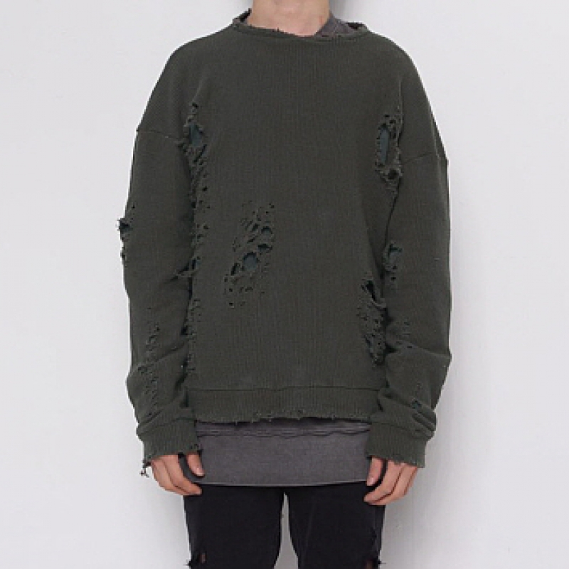 [FADE6] DAMAGED KNIT KHAKI