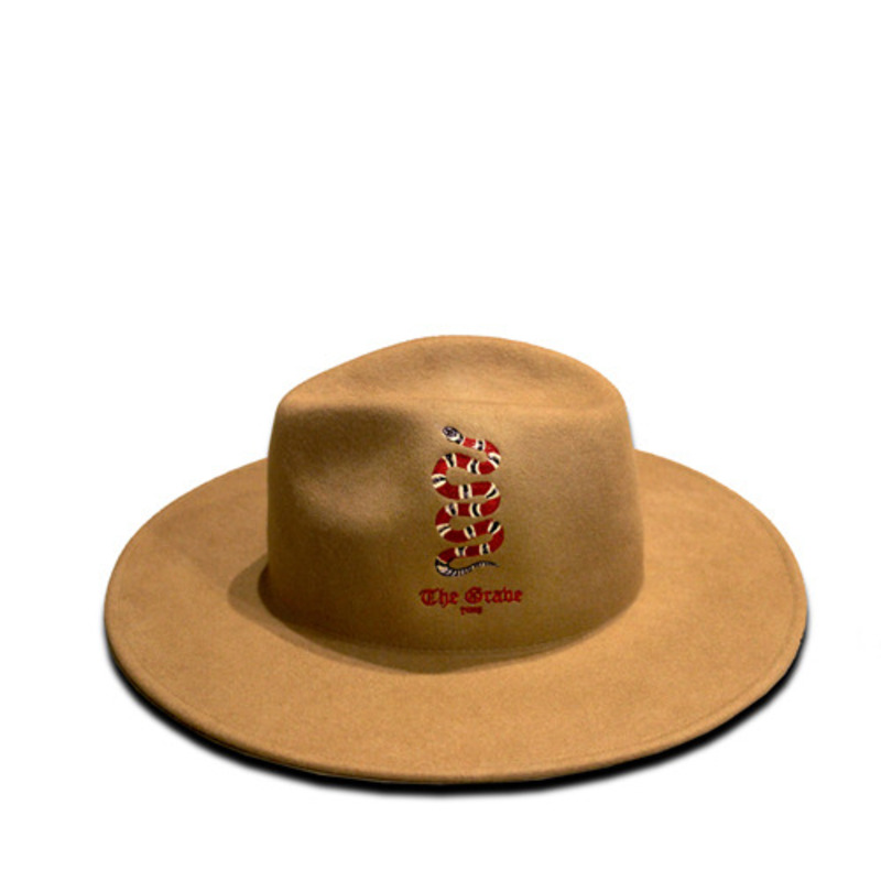 [THE GRAVE] SNAKE EMBROIDERY FEDORA(CAMEL)