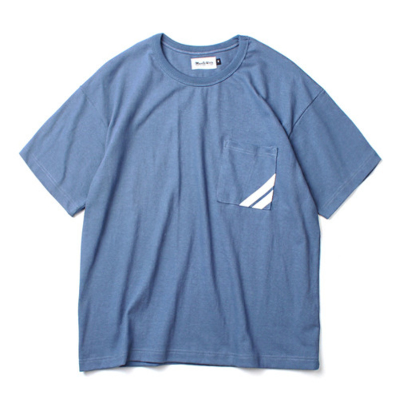 [MARCH WITH] LINE POCKET WIDE FIT TEE VINTAGE BLUE
