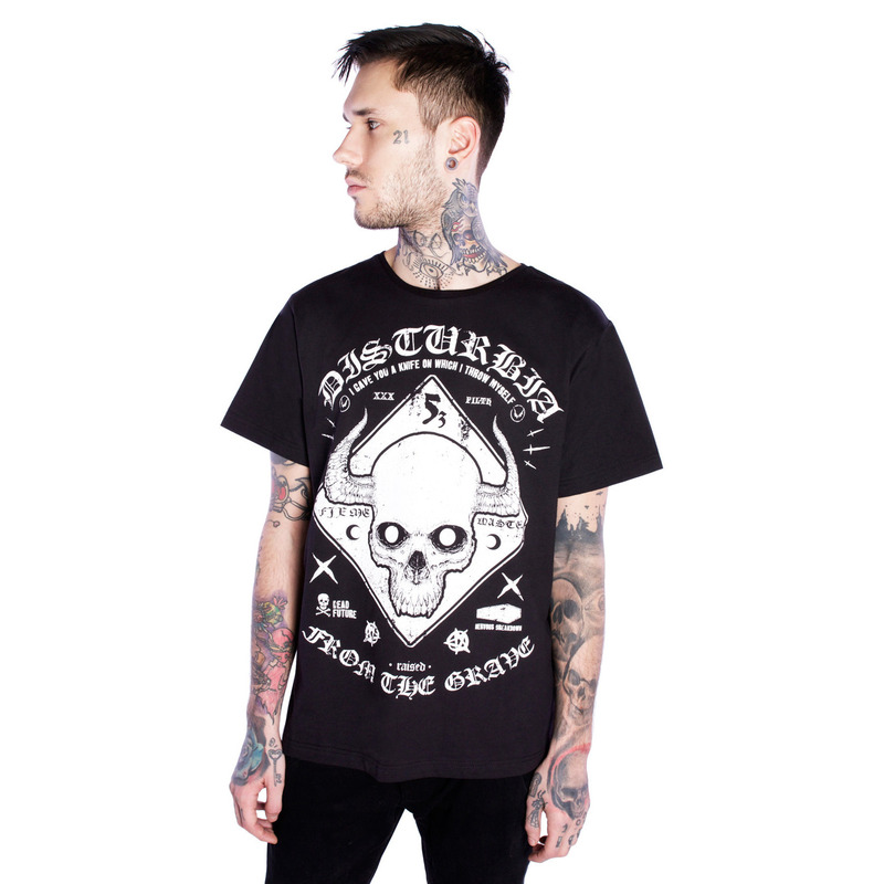 [DISTURBIA ] WARNING TEE BLACK
